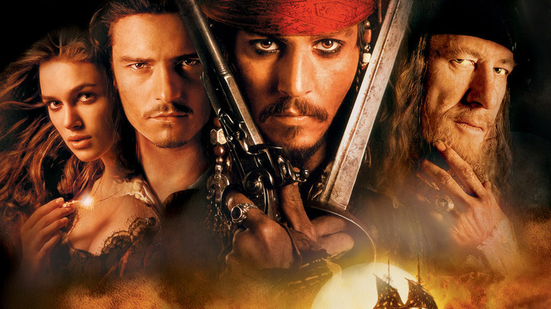 Johnny Depp on Pirates of the Caribbean: The Curse of the Black Pearl poster