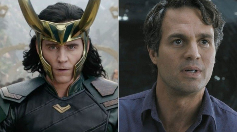 Split screen of Loki and Bruce Banner
