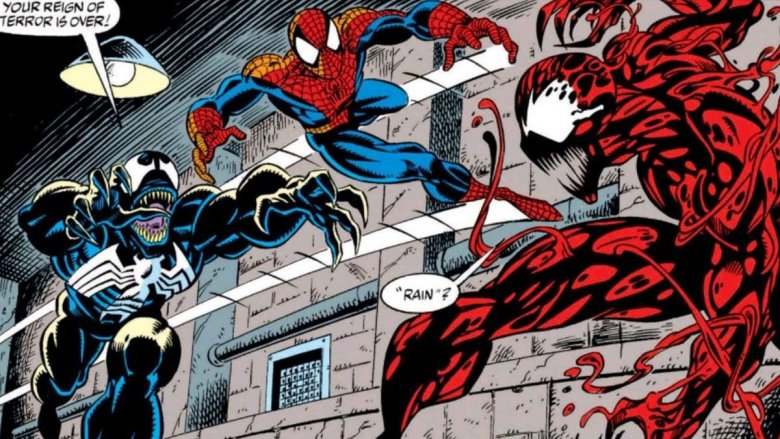 Venom and Spidey teaming up against Carnage