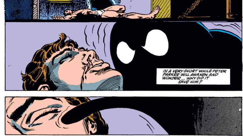 The Venom symbiote leaving Parker in peace in 1985's Web of Spider-Man #1