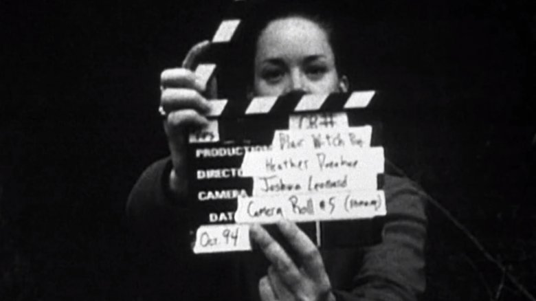 Heather Donohue holds a slate for The Blair Witch Project