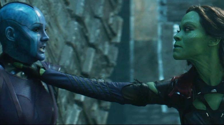 Karen Gillan and Zoe Saldana in Guardians of the Galaxy Vol. 2