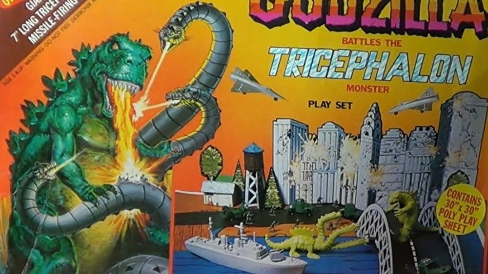 Toys from the Godzilla vs. the Tricephalon Monster playset
