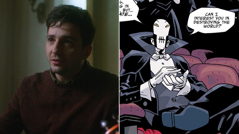 "John Magaro as Leonard in ""The Umbrella Academy"" series / The Conductor by Gabriel Ba in ""The Umbrella Academy"" comic"