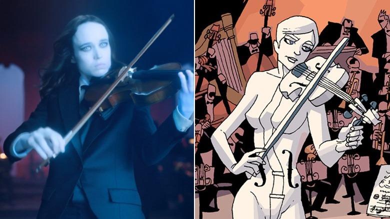 "Ellen Page as Vanya in ""The Umbrella Academy"" series / Vanya by Gabriel Ba in ""The Umbrella Academy"" comic"