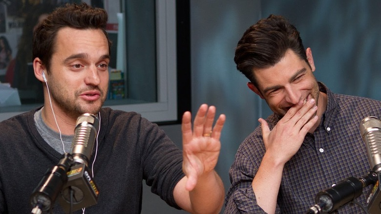 Jake Johnson and Max Greenfield being interviewed about New Girl