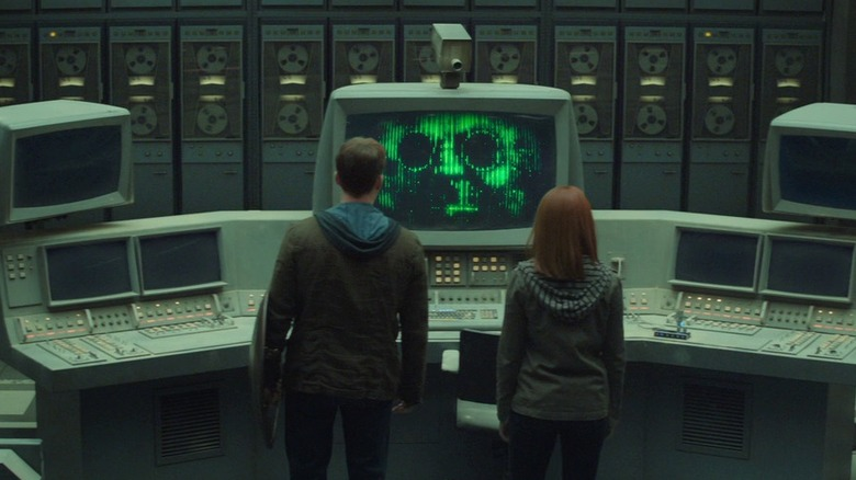 Captain America and Black Widow talking to Arnim Zola's A.I. in Captain America: The Winter Soldier