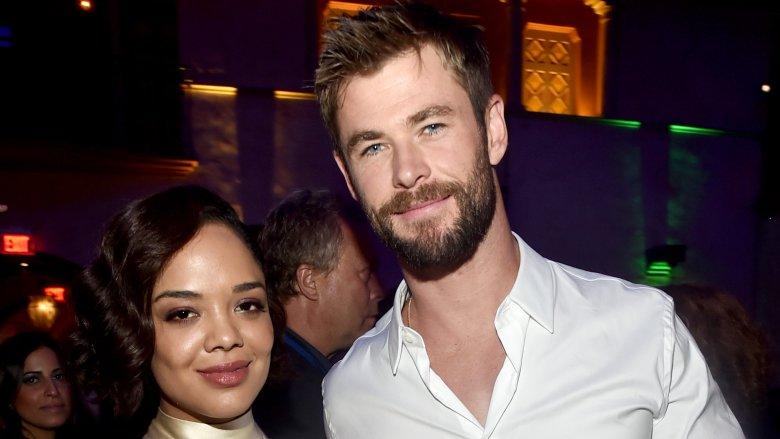 Tessa Thompson and Chris Hemsworth