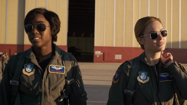 Brie Larson as Carol Danvers/Captain Marvel and Lashana Lynch as Maria Lambeau