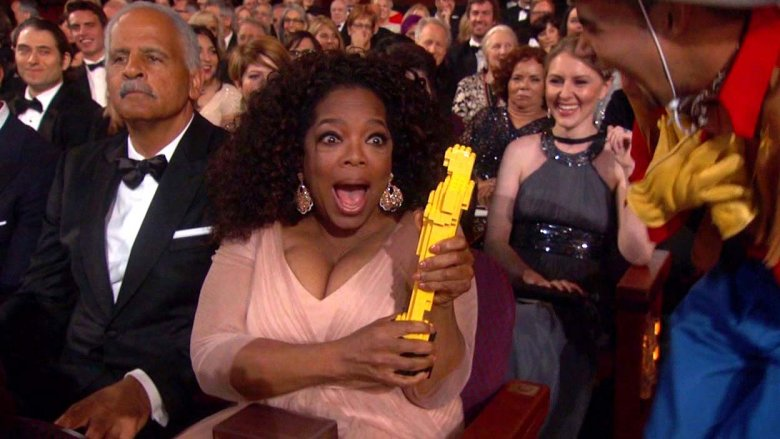 Oprah with her 2015 LEGO Oscar