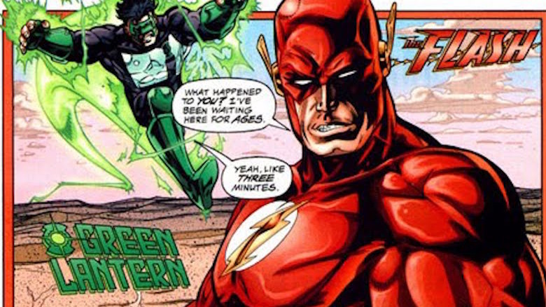 The Flash busting Green Lantern's chops