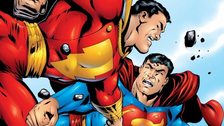 Captain Marvel fighting Superman