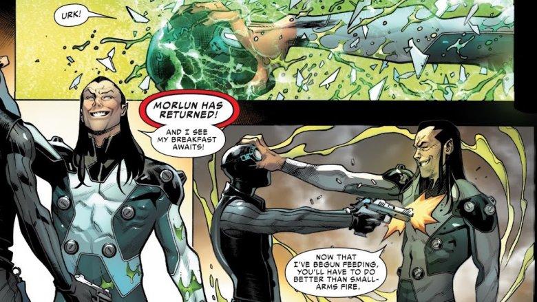 Morlun killing Spider-Man Noir in Spider-Geddon #1