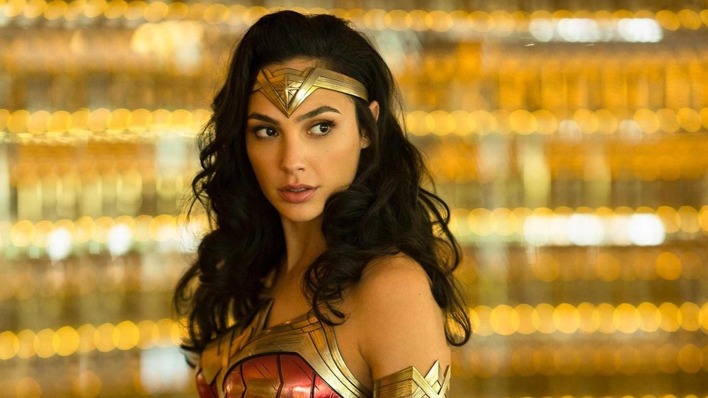 Wonder Woman in front of lights