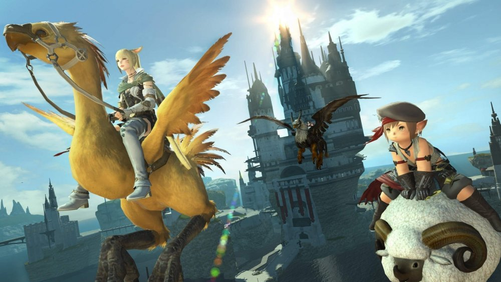 Final Fantasy 14 characters ride their mounts