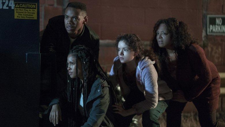 Joivan Wade, Lex Scott Davis, Kristen Solis, Luna Lauren Velez in The First Purge