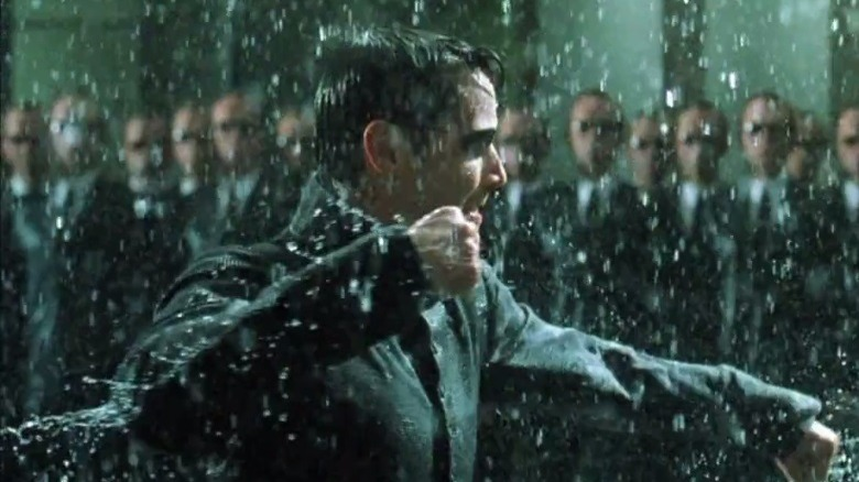 Keanu Reeves as Neo and Hugo Weaving as Agent Smith in The Matrix Revolutions