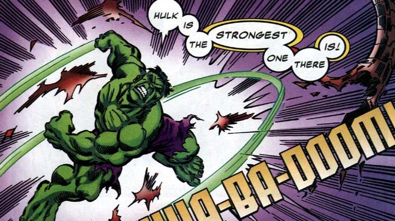 Hulk breaking free of the cosmic-powered prison in 2001's Defenders #8