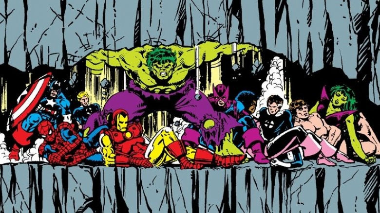 Hulk saving the heroes of Marvel in 1984's Secret Wars #4