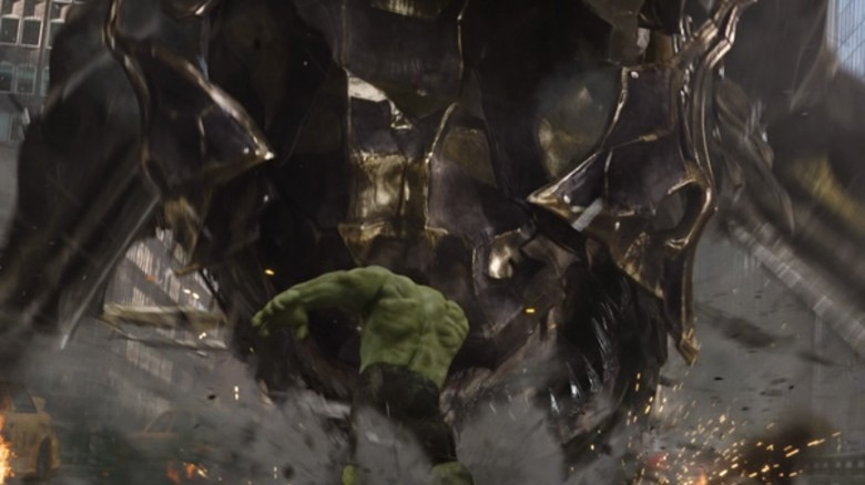 Hulk punching a Chitauri Leviathan in 2012's Avengers