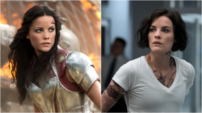 Split image of Jaimie Alexander as Sif in Thor: The Dark World and as Jane Doe in Blindspot