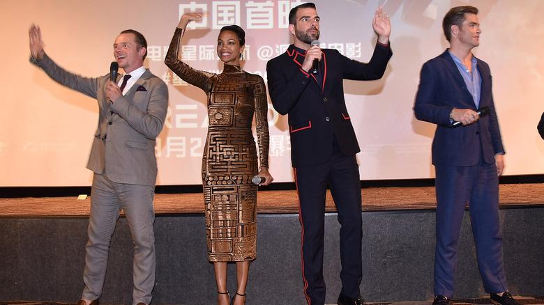 Simon Pegg, Zoe Saldana, Zachary Quinto and Chris Pine onstage