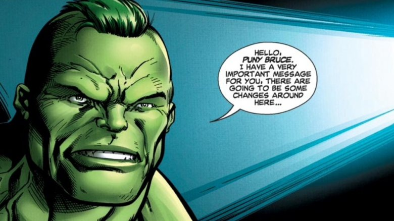 Doc Green recording a message for Bruce Banner in 2014's Hulk #7