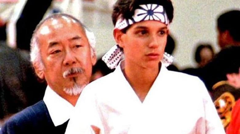 Pat Morita and Ralph Macchio in The Karate Kid