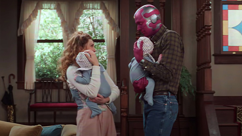 Wanda and Vision holding twins