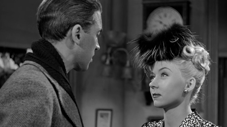 Jimmy Stewart as George and Gloria Grahame as Violet in It's a Wonderful Life