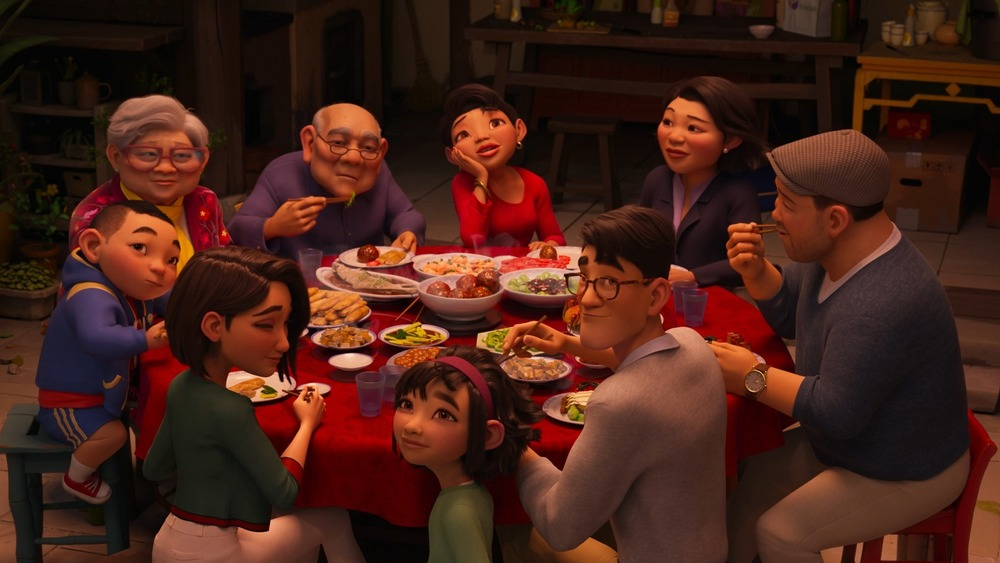 Fei Fei's family eating