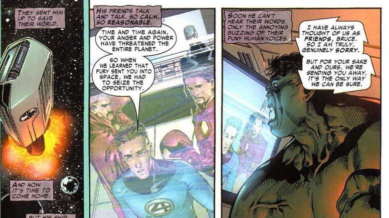 The Illuminati banishing the Hulk to space in Incredible Hulk #92