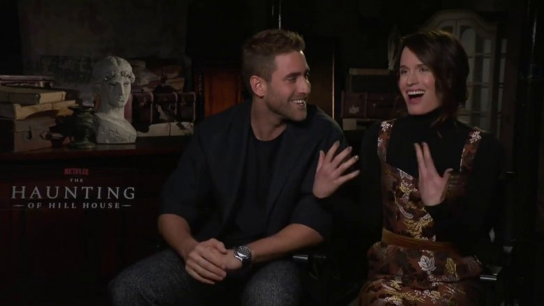 Oliver Jackson-Cohen and Elizabeth Reaser being interviewed for The Haunting of Hill House