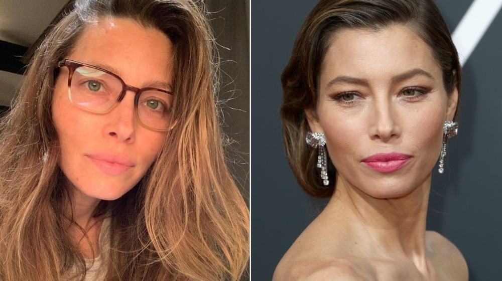 Jessica Biel without and with makeup