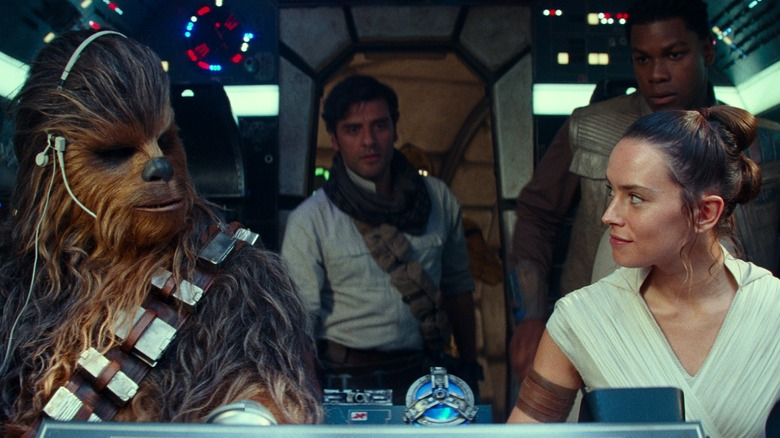 Chewbacca, Rey, Poe, and Finn in Star Wars: The Rise of Skywalker