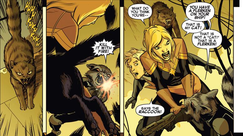 Rocket and the flerken in Captain Marvel Vol 8 #2