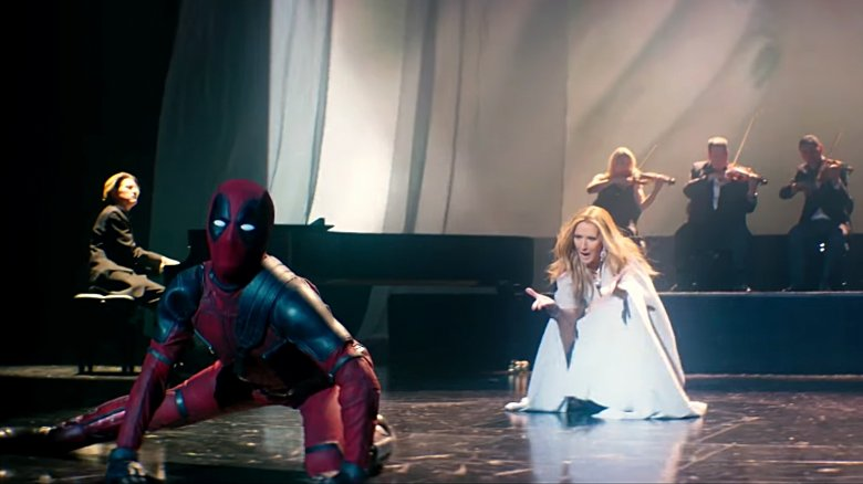 """Deadpool and Celine Dion in the video for """"Ashes"""""""