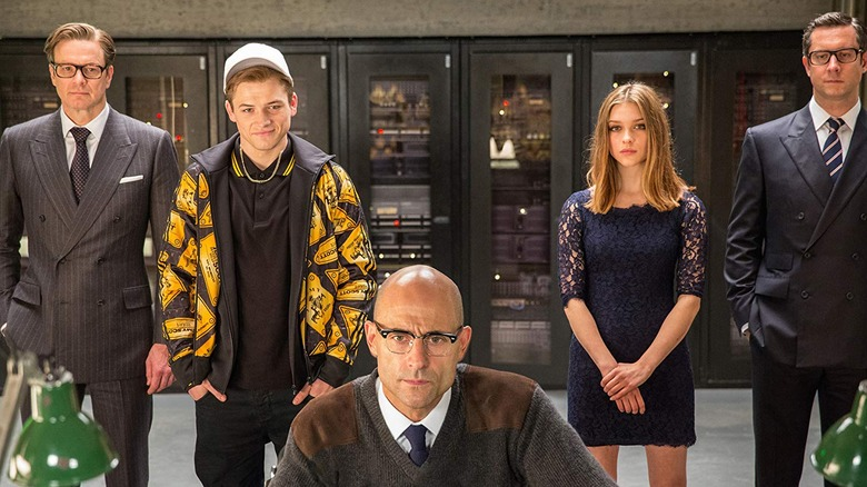 Colin Firth, Taron Egerton, Mark Strong, Sophie Cookson, and Alastair MacIntosh in Kingsman: The Secret Service